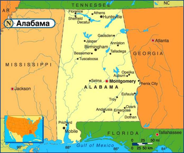 Карта Алабамы