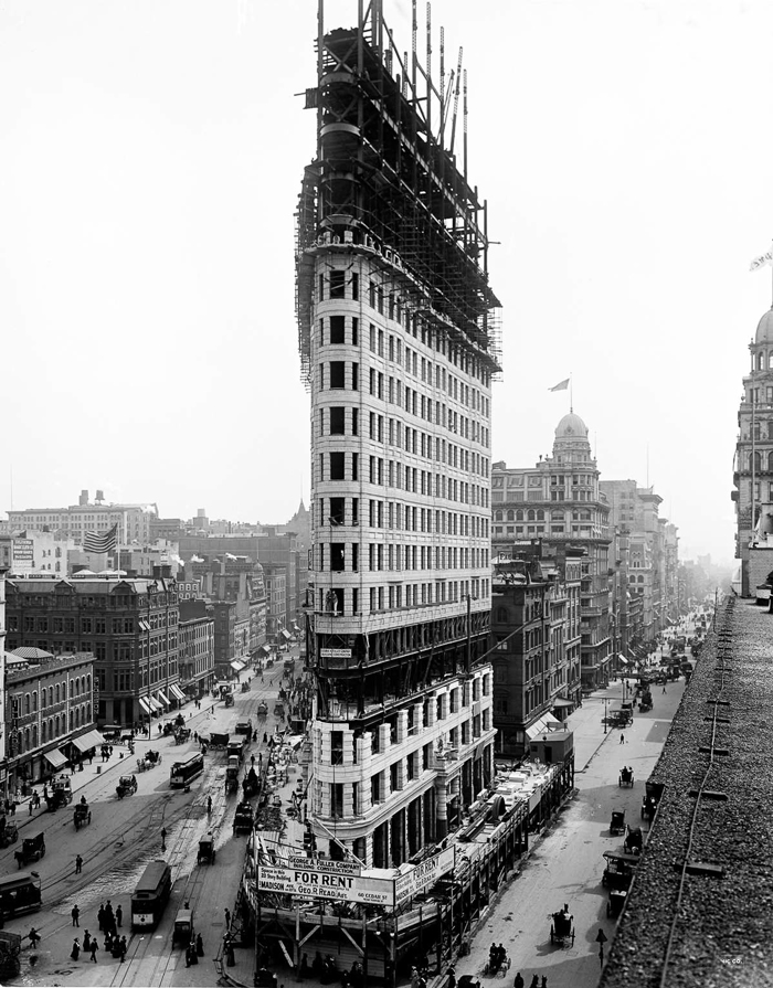 Stroitelstvo Fletajron bilding - Флэтайрон-билдинг - небоскрёб на Манхэттене